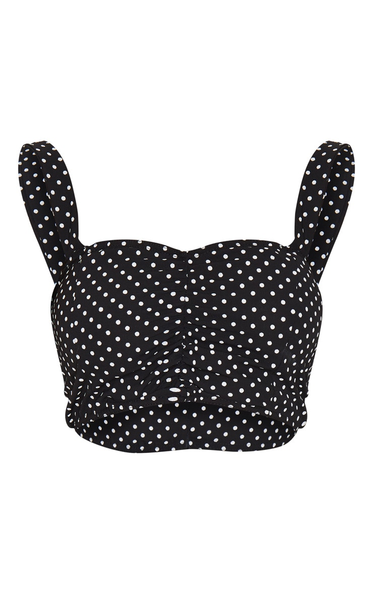 Black Polka Dot Printed Woven Zip Back Ruched Detail Crop Top 5