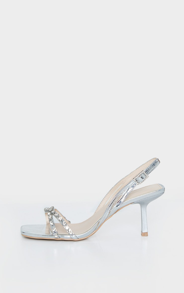 Silver Low Heel Square Toe Diamante Strap Sandal 5