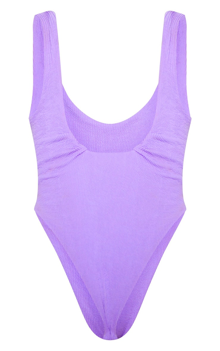 Purple Crinkle High Leg Swimsuit 6
