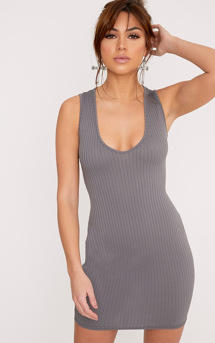 Verlee Plunge Neck Ribbed Bodycon Dress 1