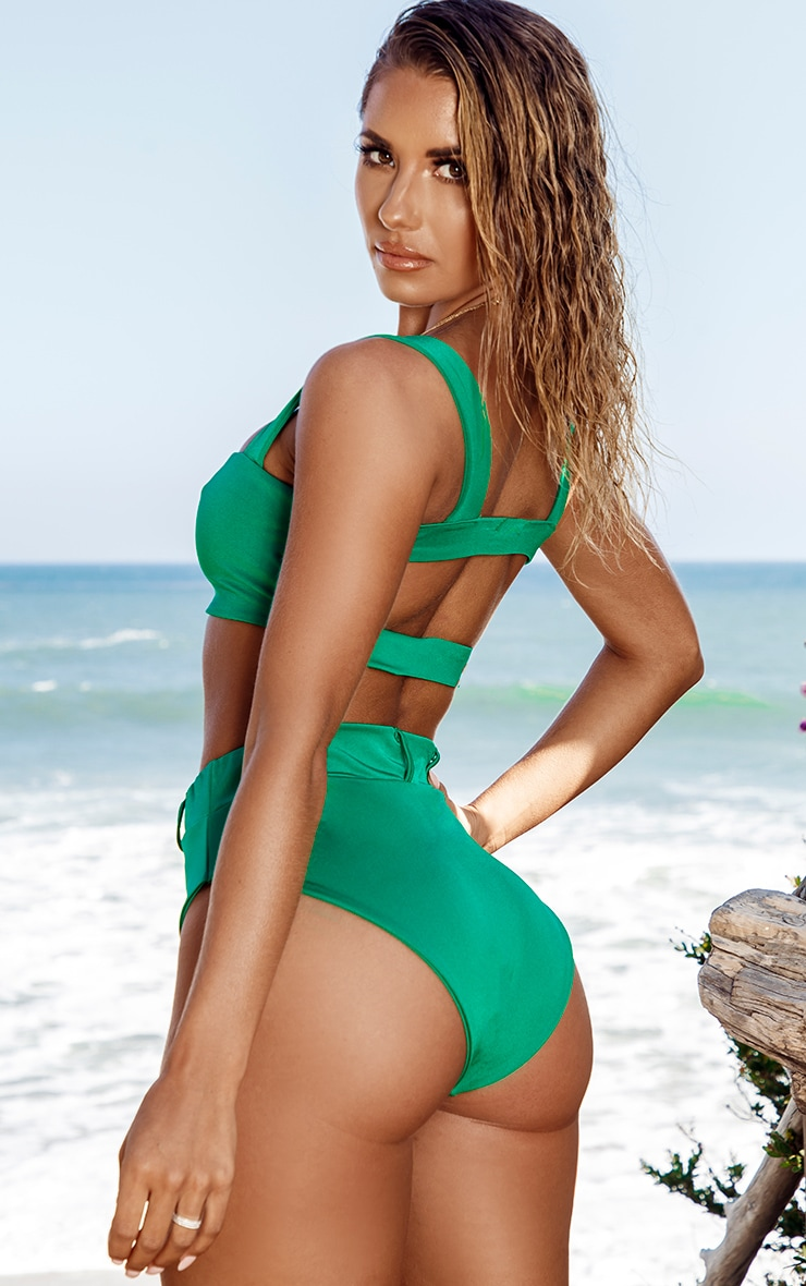 Green Square Neck Bikini Top 2