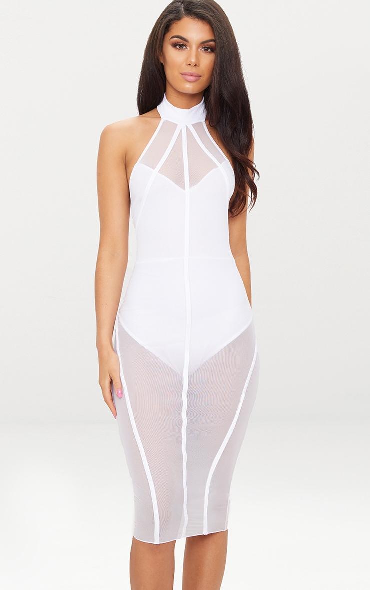 White High Neck Binded Detail Mesh Midi Dress 1