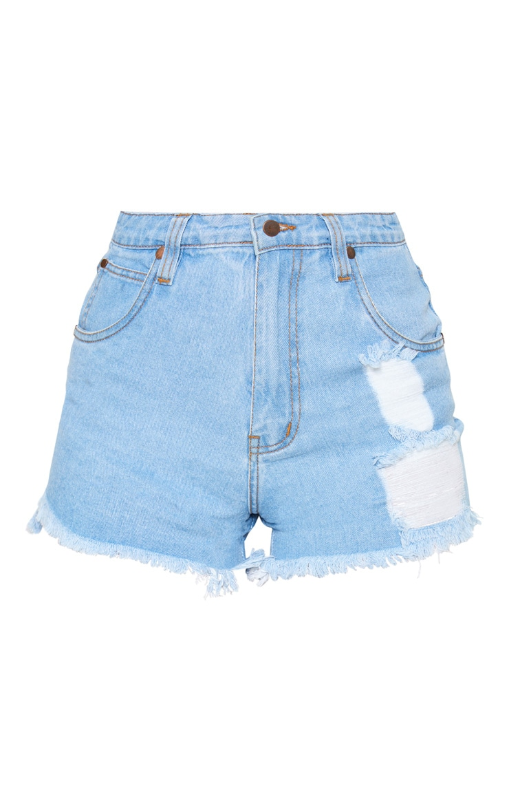 Petite Light Wash Frayed Hem Distressed Denim Shorts 3