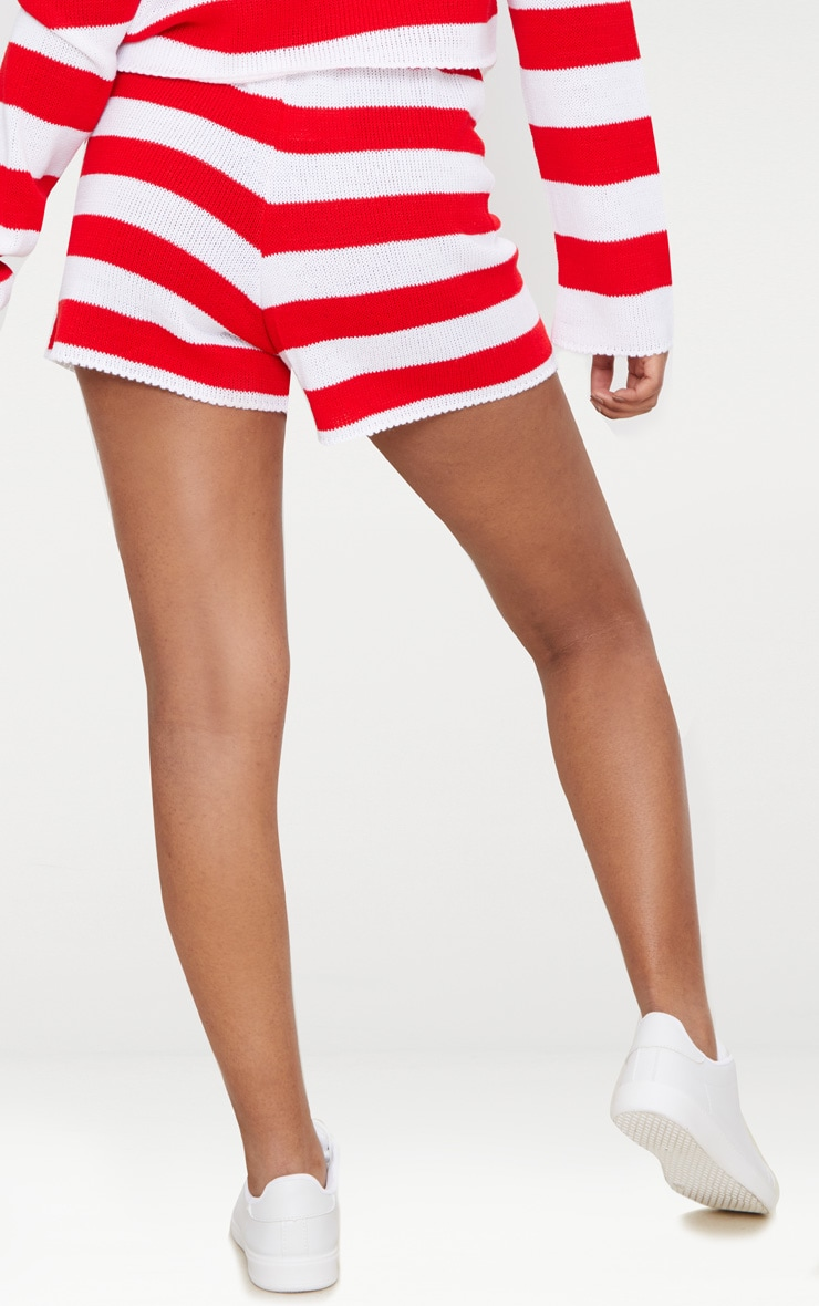 Petite Red Striped Knit Shorts 4