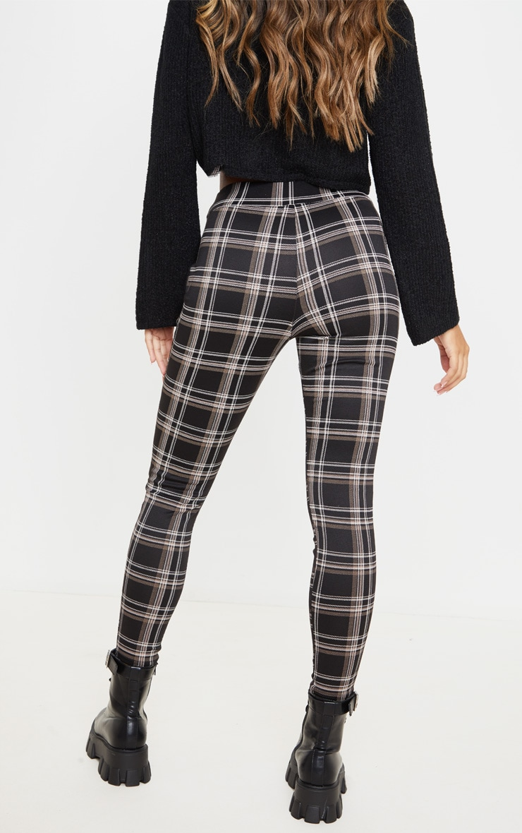 Black Checked Ponte Legging 4