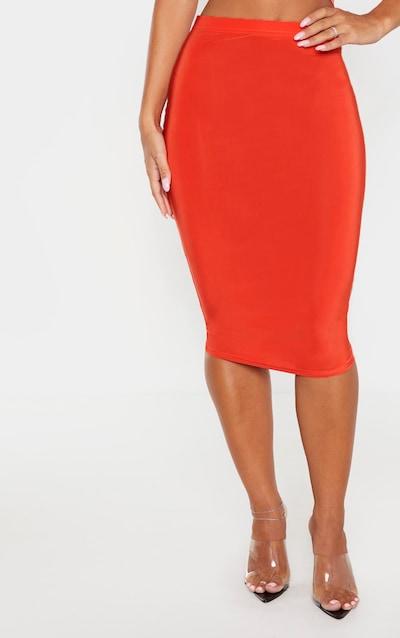 Bright Orange Slinky Midi Skirt