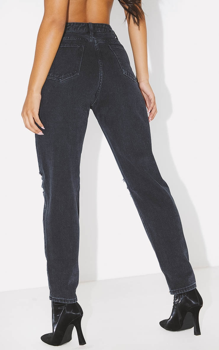 PRETTYLITTLETHING Washed Black Knee Rip Mom Jean 4