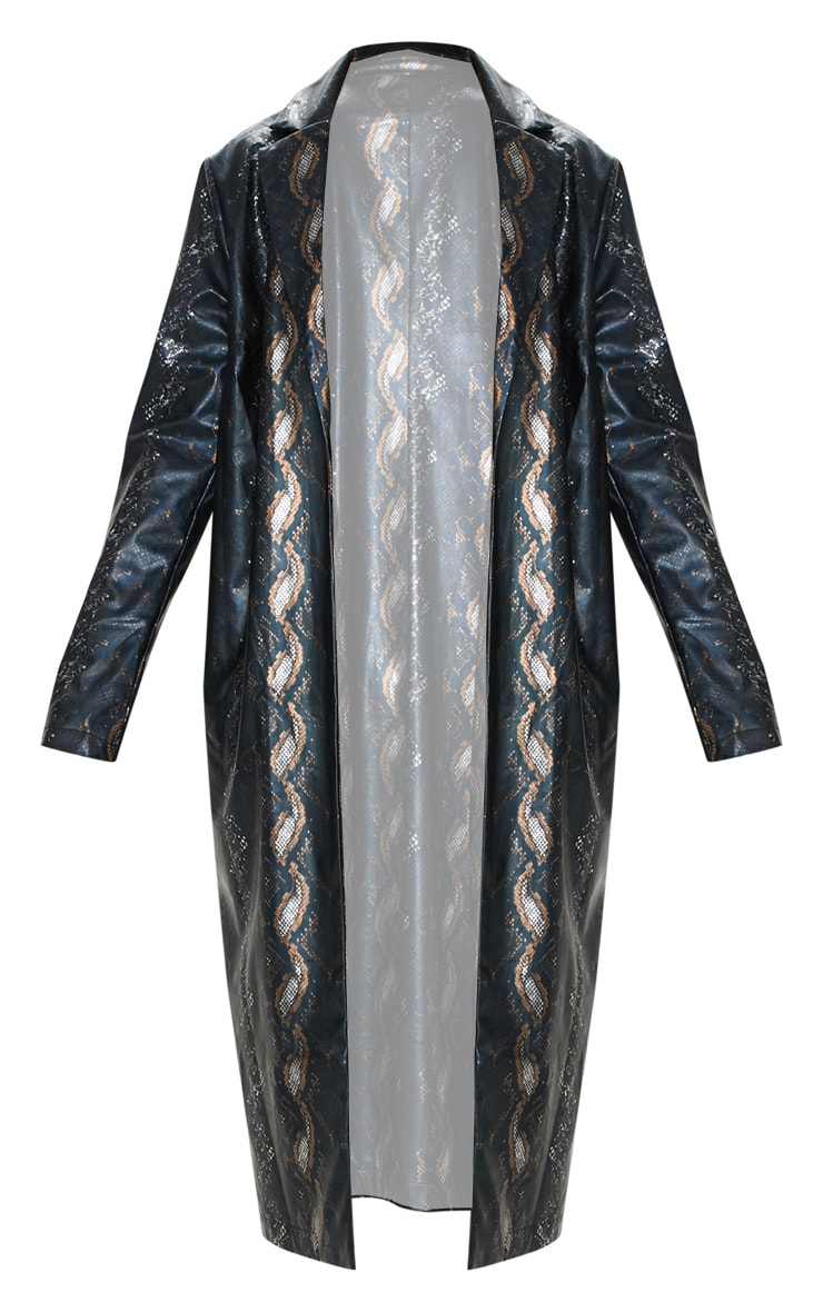 Black Snake Print PU Trench 3