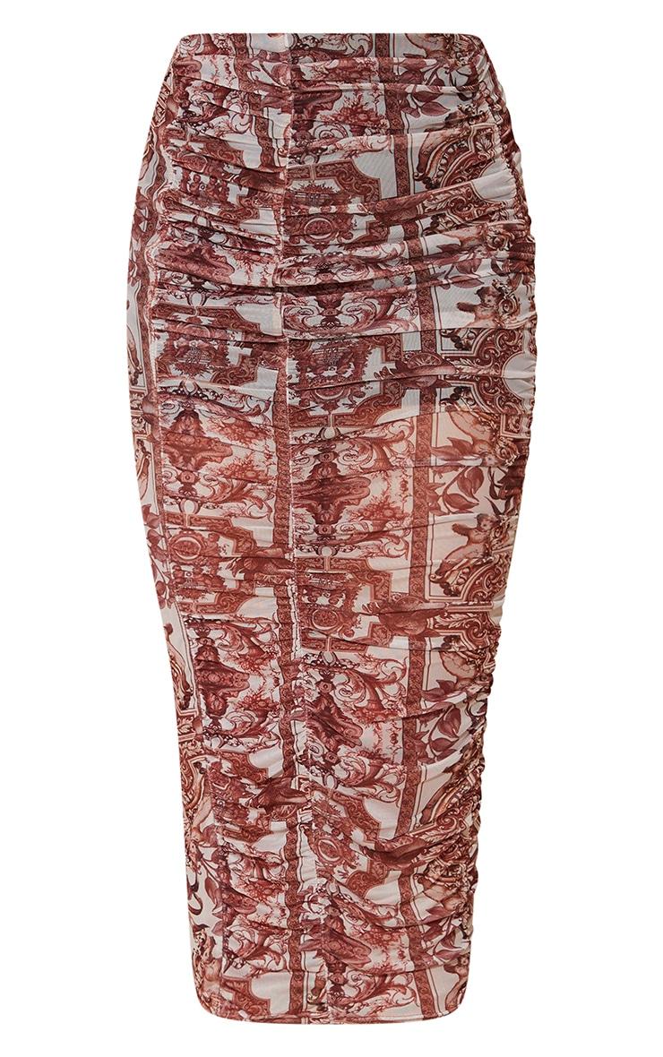 Renaissance Print Mesh Ruched Overlay Maxi Skirt 5