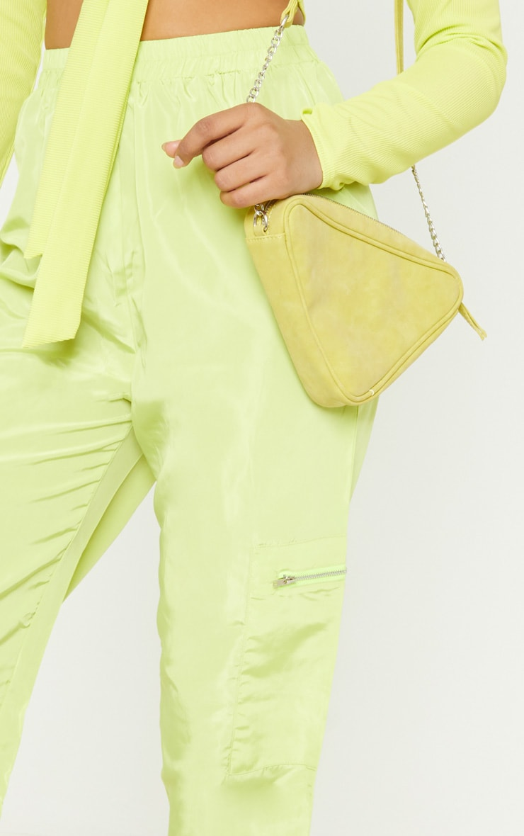 Tall Neon Lime Zip Detail Shell Joggers 5