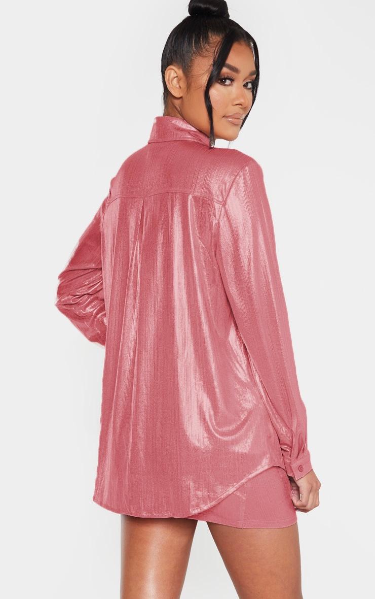 Pink Metallic Button Front Shirt 2
