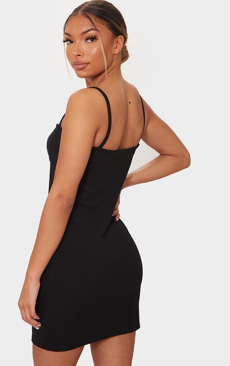 Black Strappy Corset Binding Detail Bodycon Dress 2