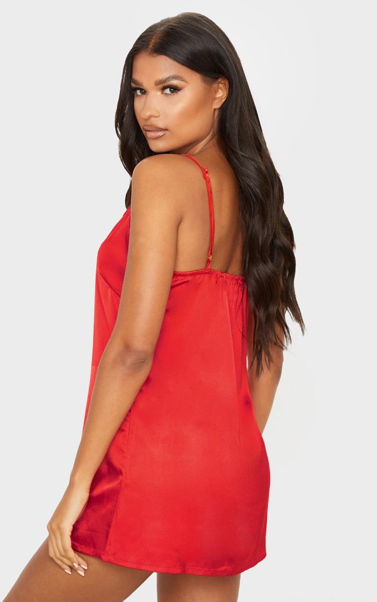 Red Lace Trim Satin Nightie 2