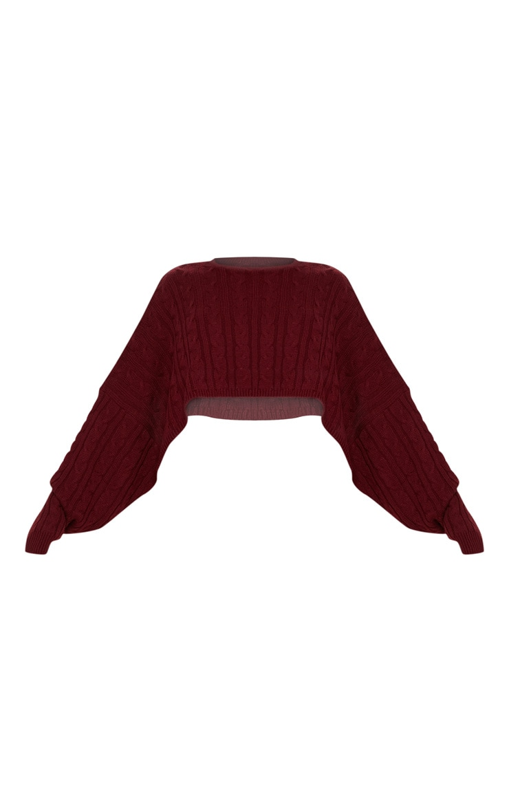Burgundy Cable Cropped Knitted Jumper  3