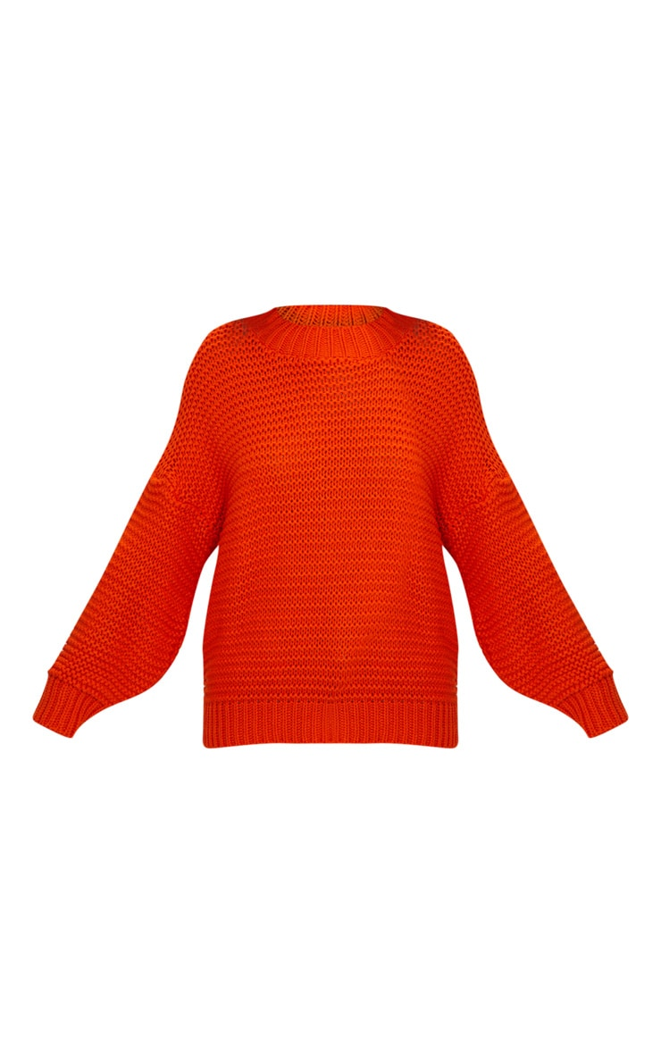 Orange Oversized Chunky Sweater 3