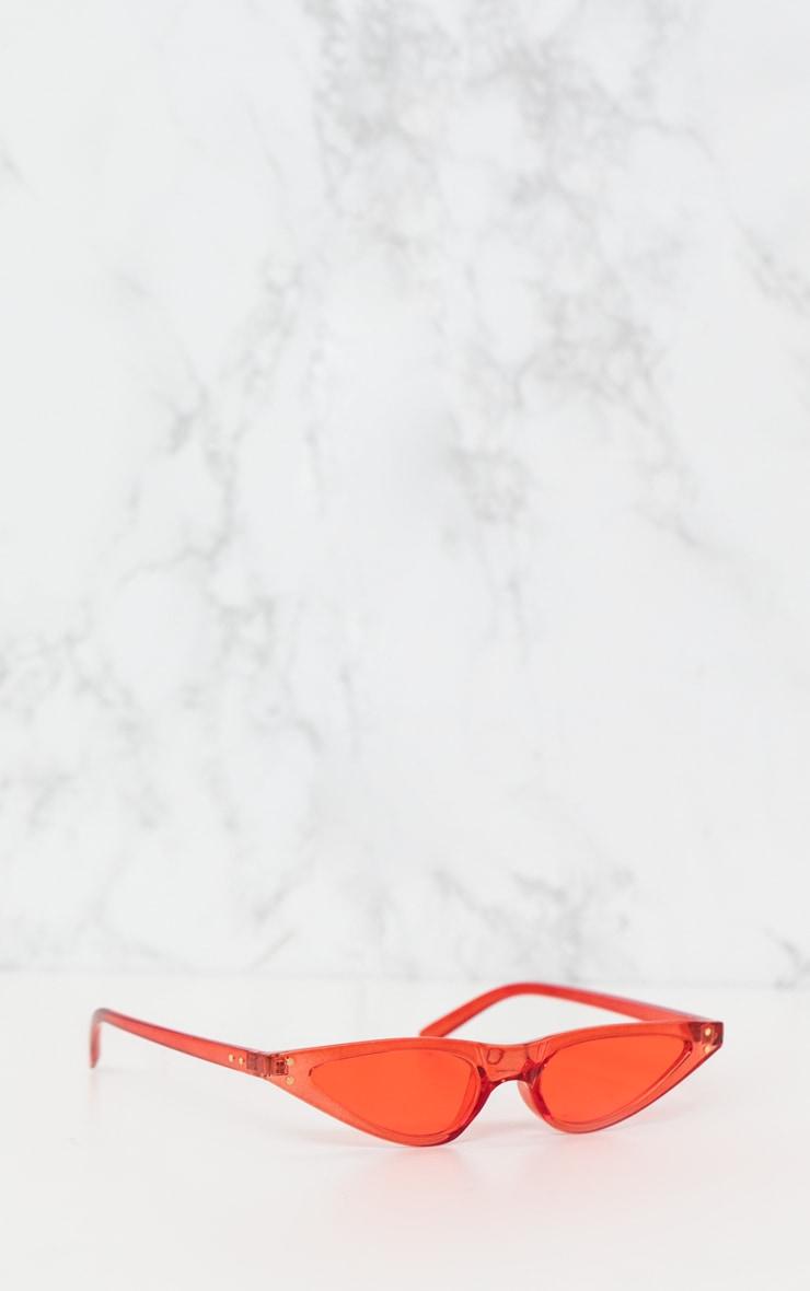 Red Small Cat Eye Skinny Sunglasses 3