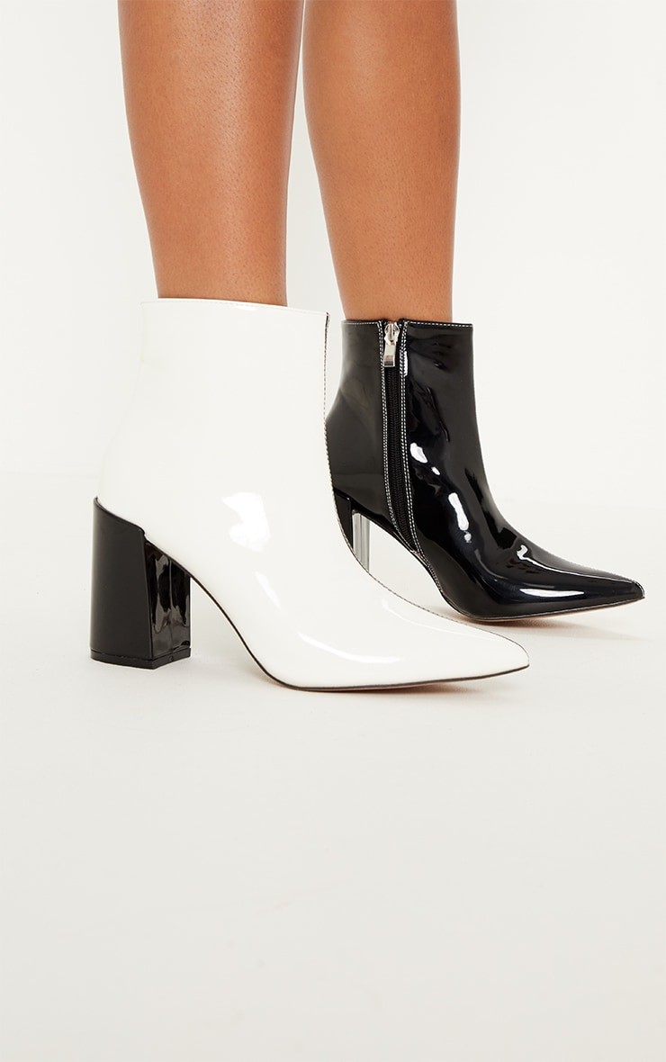 Mono Two Tone Block Heel Ankle Boot