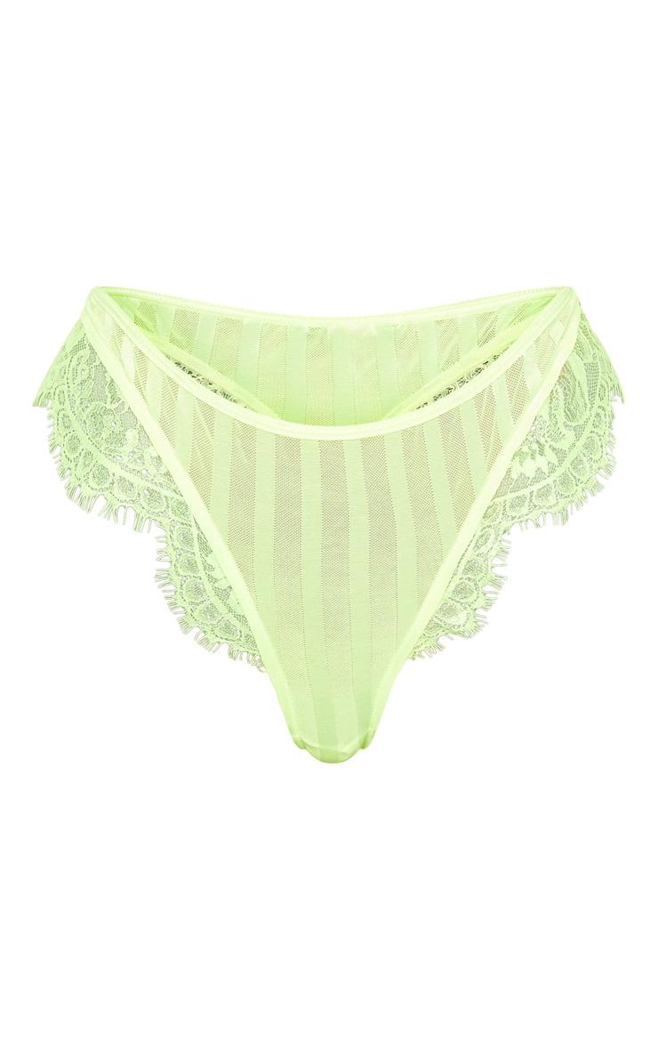 Neon Lime Striped Lace High Leg Thong  6