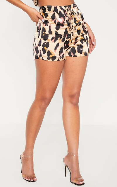 Tan Leopard Print Satin Lace Up Front Short