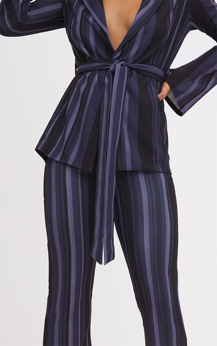 Navy Striped Wide Leg Trouser 5