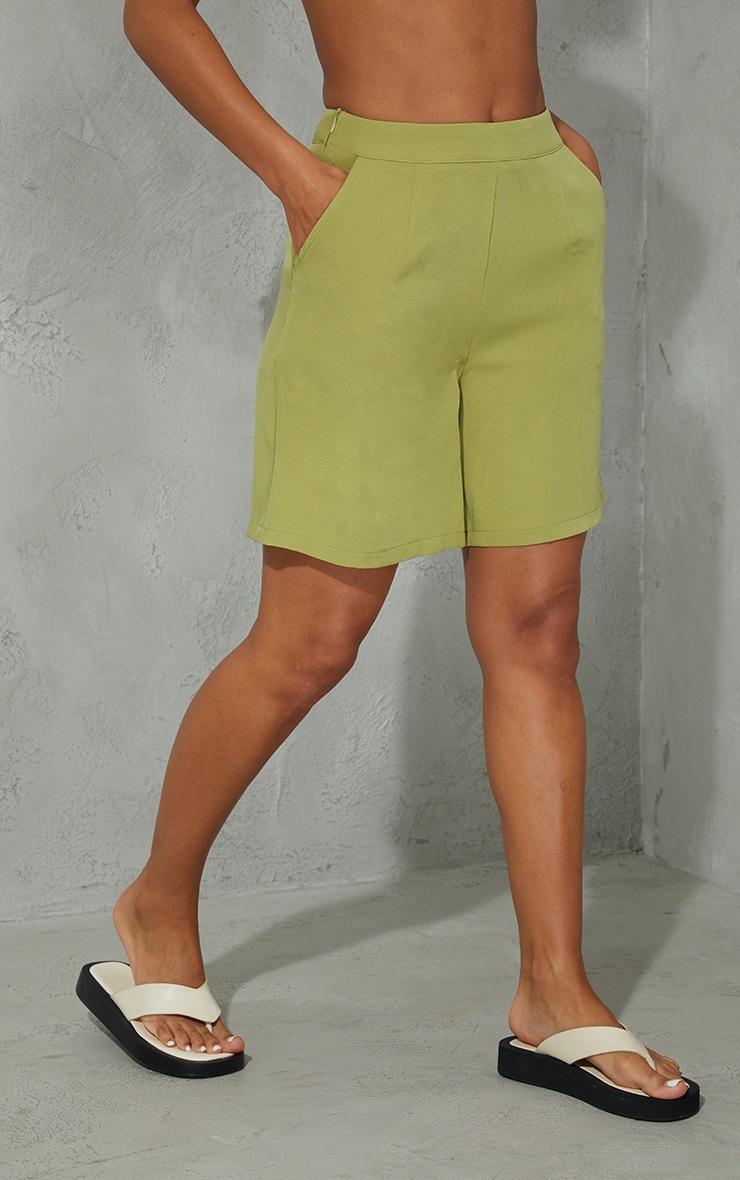 Olive Woven Pocket Detail City Shorts 2