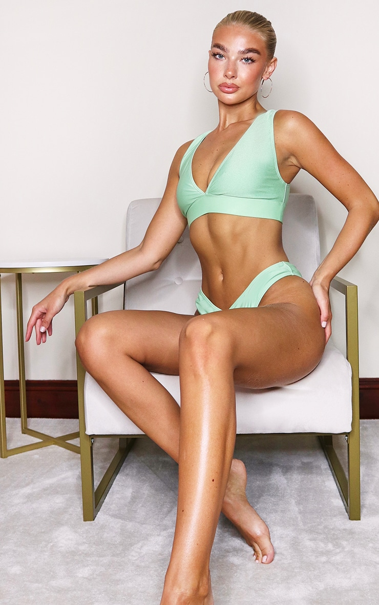 Sage Green Mix & Match Plunge Bikini Top 4