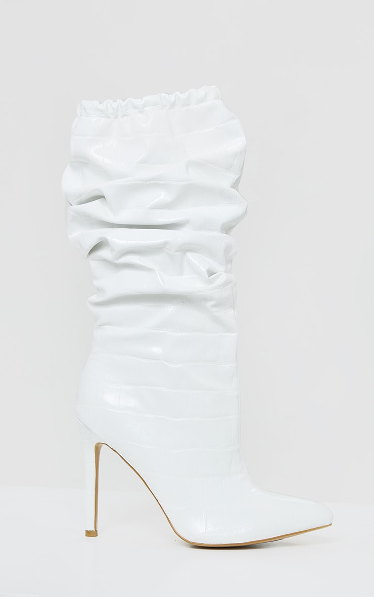White Slouch Calf High Point Boots 4
