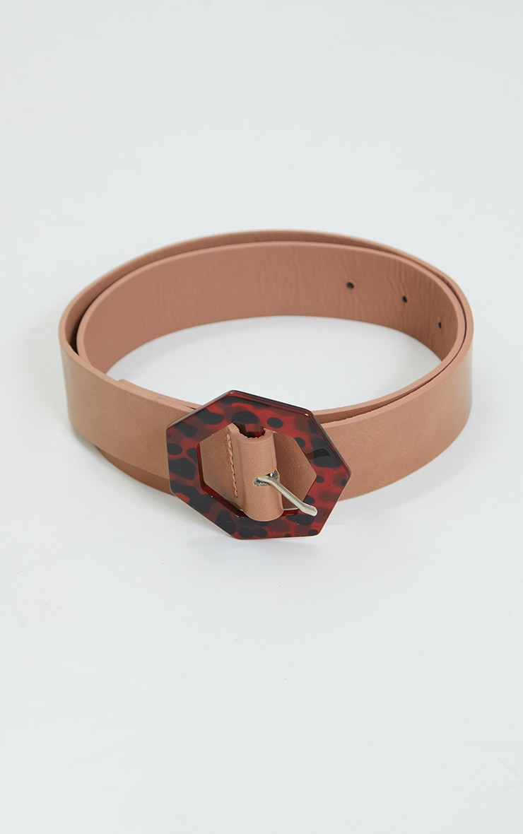 Tan PU Hexagon Leopard Waist Belt 2