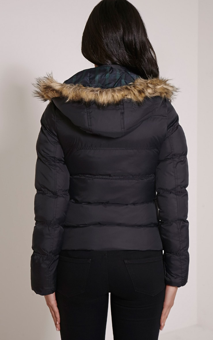 Victoria Black Faux Fur Hooded Puffa Jacket 2