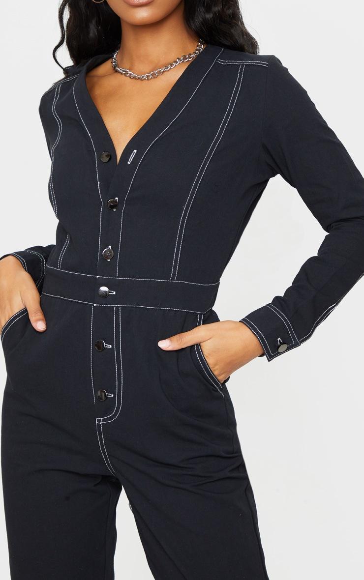 Black Button Detail Contrast Stitch Denim Boilersuit 4