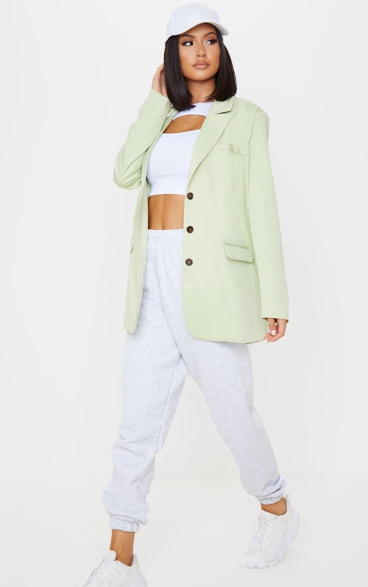 Apple Green Oversized Woven Blazer 1
