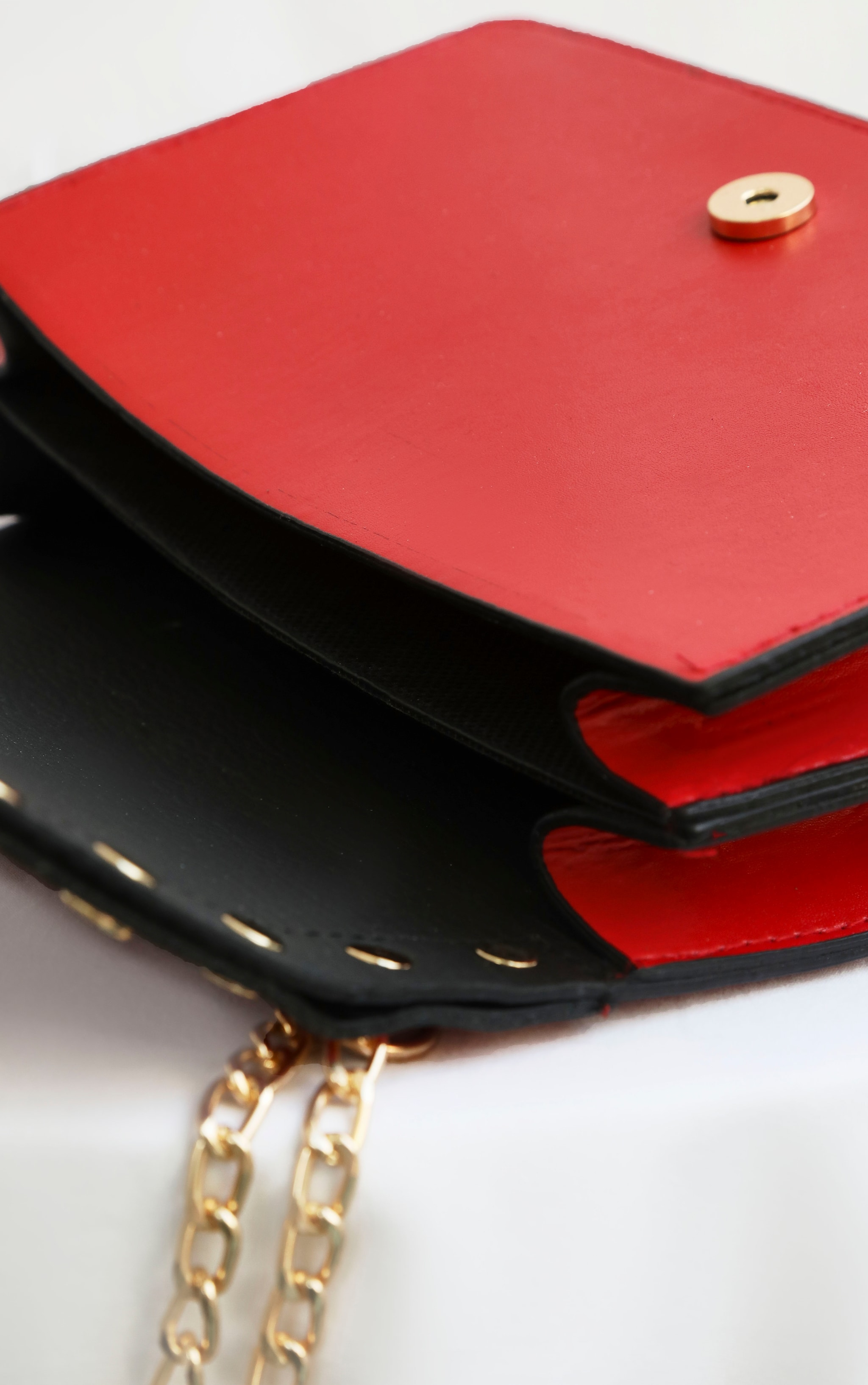 Red Studded Croc Cross Body Bag 5