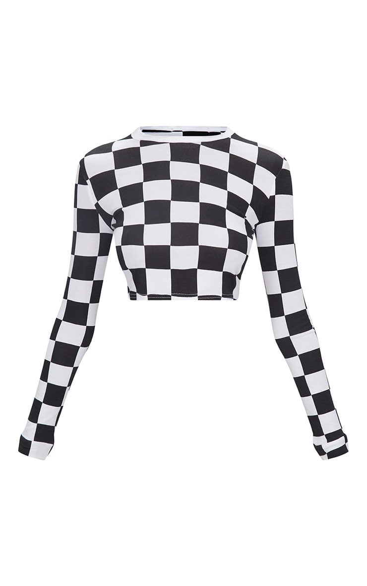 Monochrome Checkerboard Grid Check Long Sleeve Crop Top 3