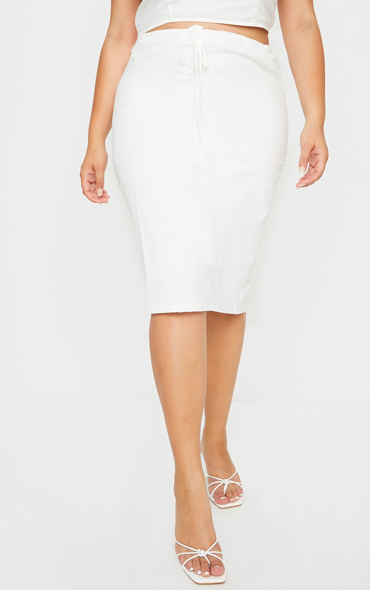 Plus White Woven Tie Waist Midi Skirt 2