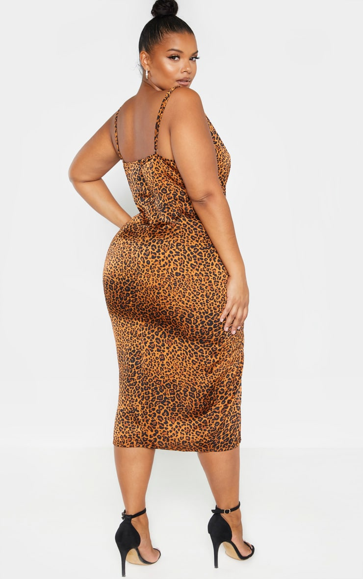 Plus Leopard Print Strappy Satin Cowl Midi Dress 2