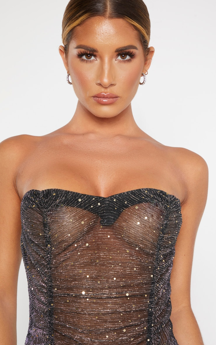 Black Sequin Mesh Bandeau Bodysuit 5