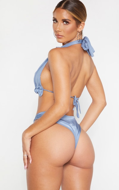 Steel Blue Knotted Ruched Triangle Bikini Top