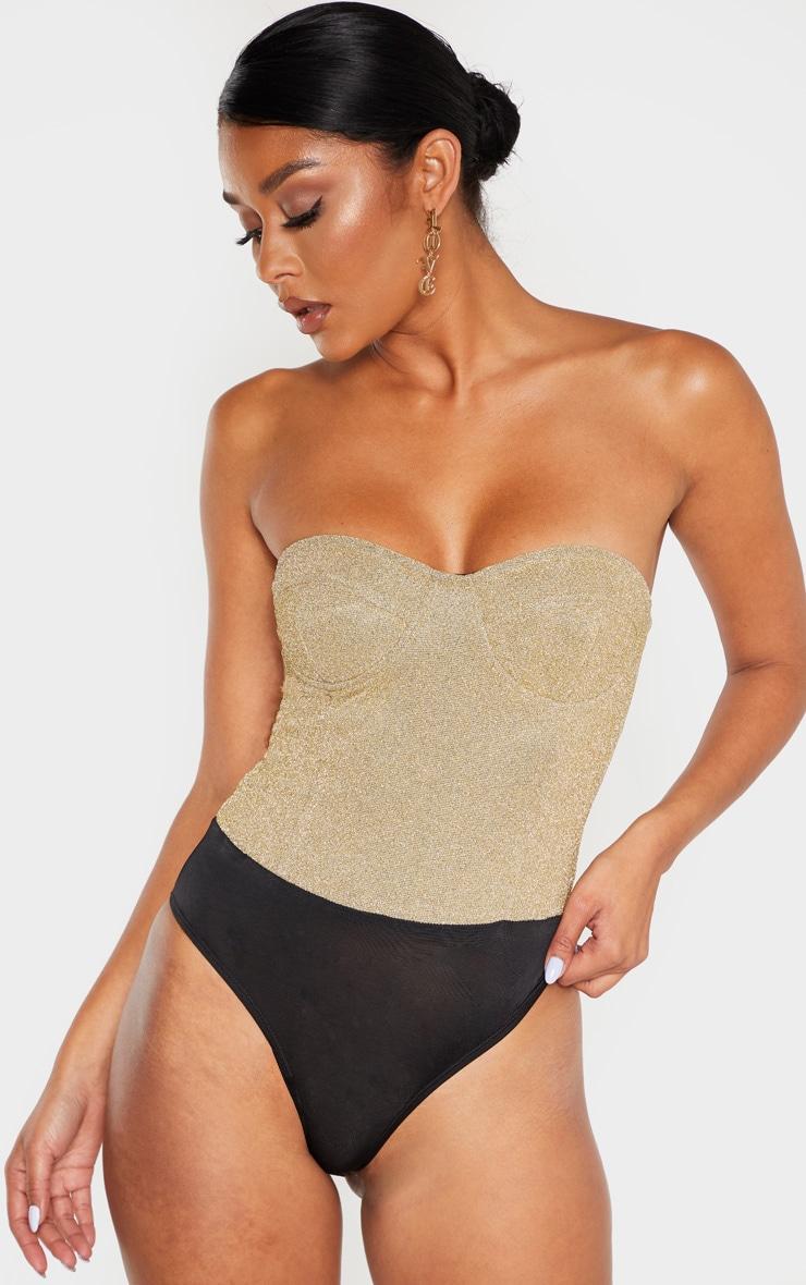 Gold Glitter Bandeau Cupped Bodysuit 2
