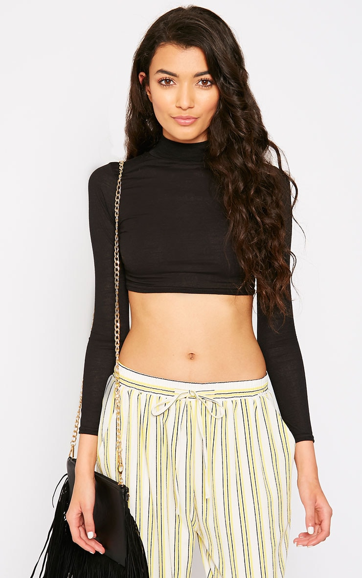Anya Black Long Sleeve Turtle Neck Crop Top  4
