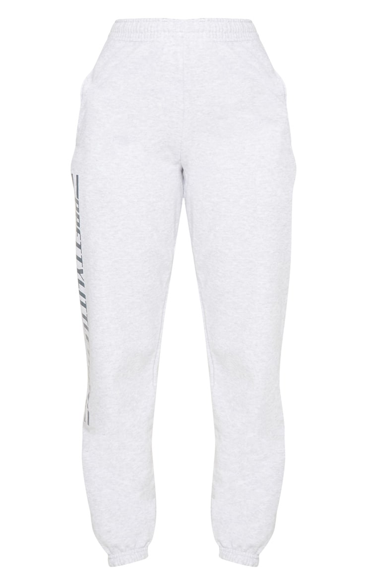 PRETTYLITTLETHING Grey Logo Stripe Track Pants 3