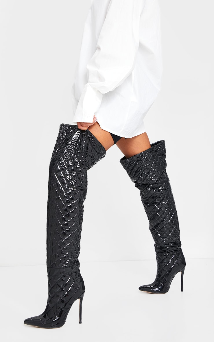 Black Vinyl Quilted Thigh High Boots 2