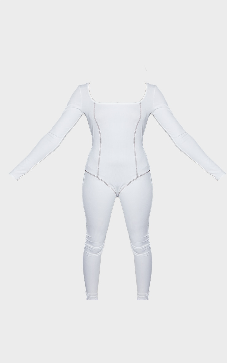 Tall White Contrast Seam Rib Jumpsuit 5