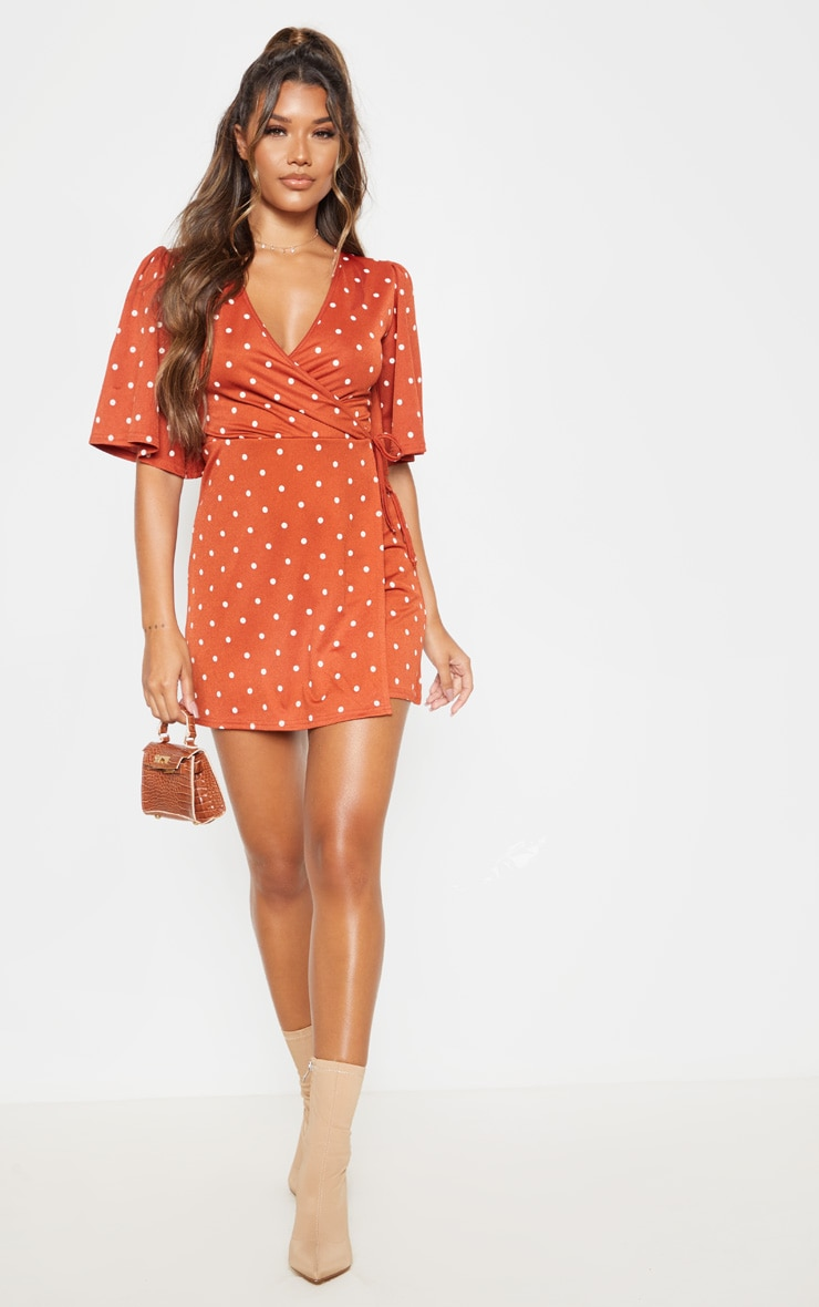 Terracotta Polka Dot Tie Wrap Tea Dress 4