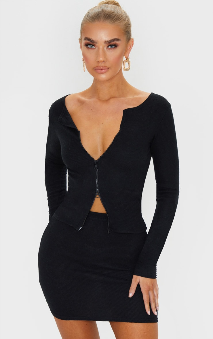 Black Soft Brushed Rib Double Zip Front Top 1