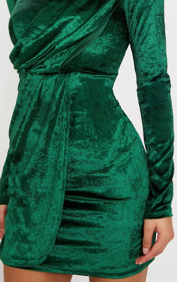 Emerald Green Long Sleeved Velvet Wrap Detail Bodycon Dress 5