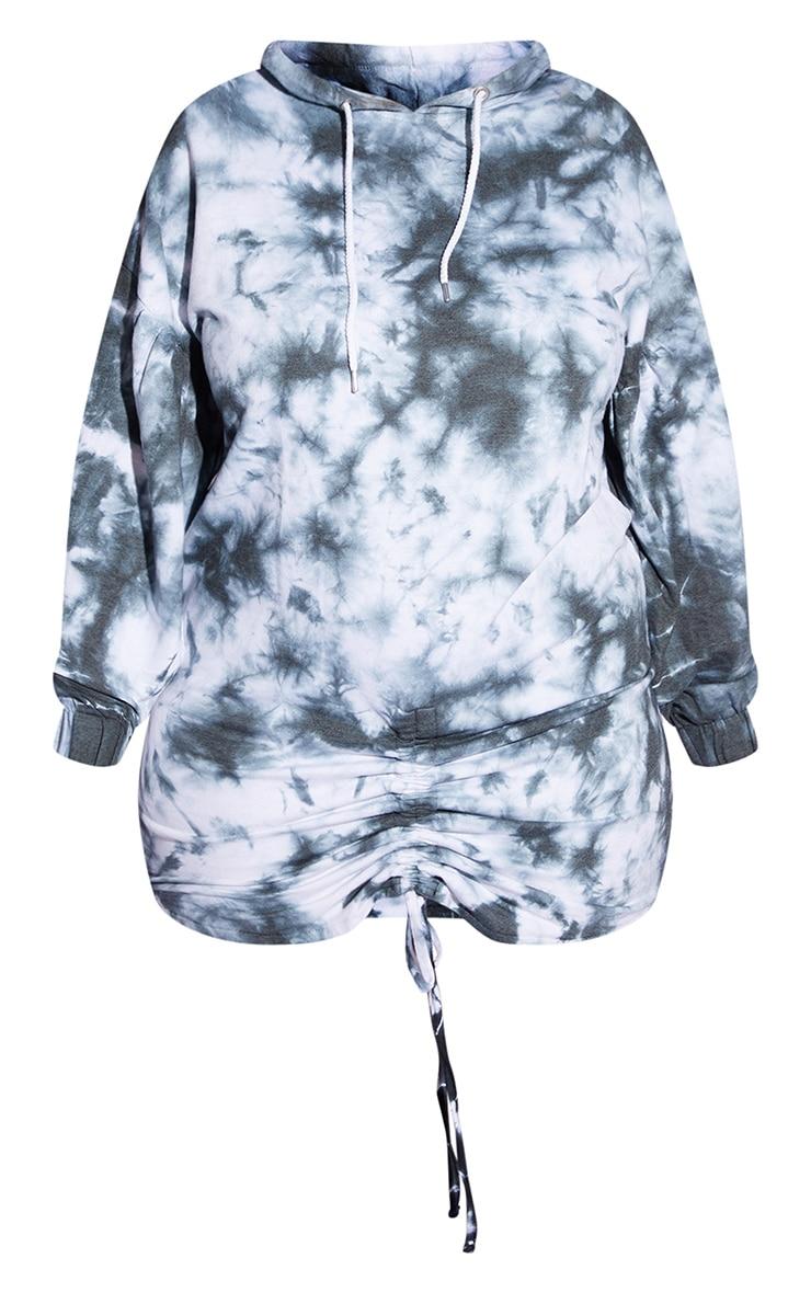 Plus Black Tie Dye Ruched Hooded Sweat Dress 5