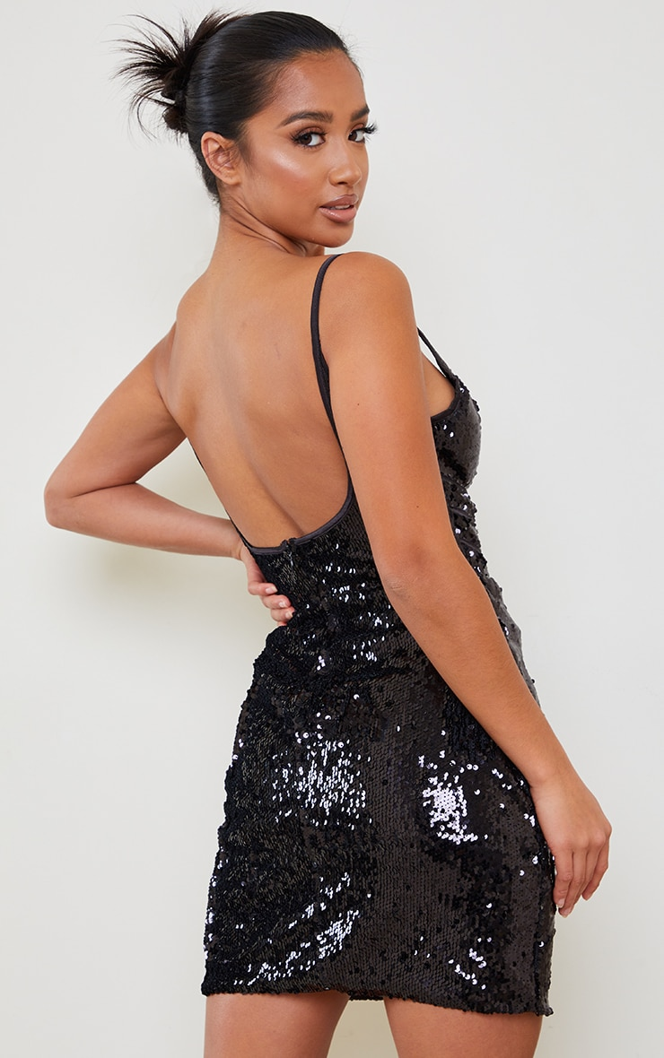 Petite Black Corset Detail Strappy Sequin Mini Dress 2