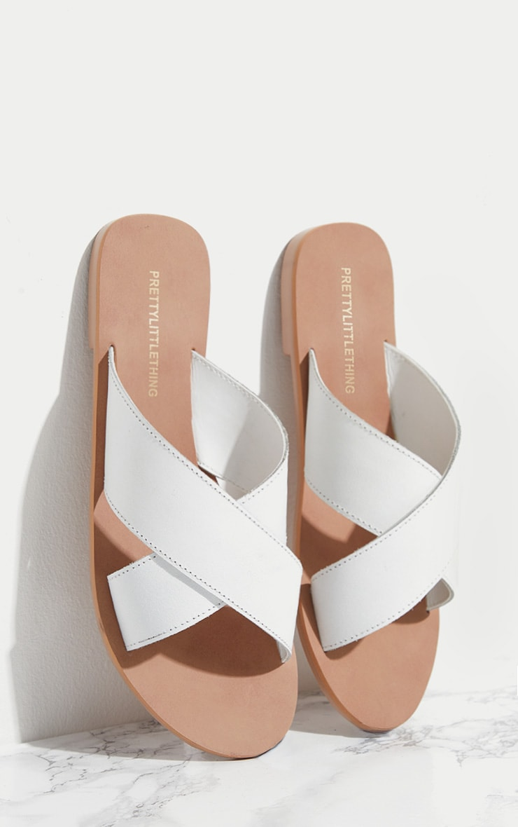 White Leather Cross Strap Sandal 1