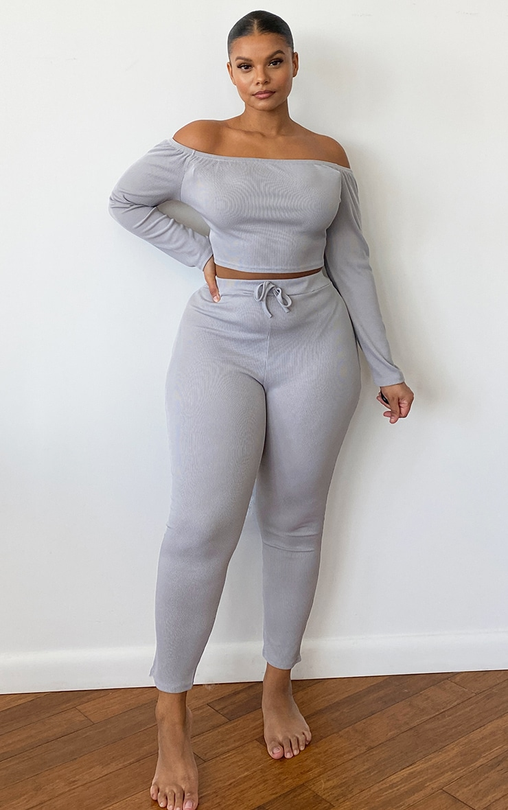 Plus Grey Ribbed High Waist Leggings 1