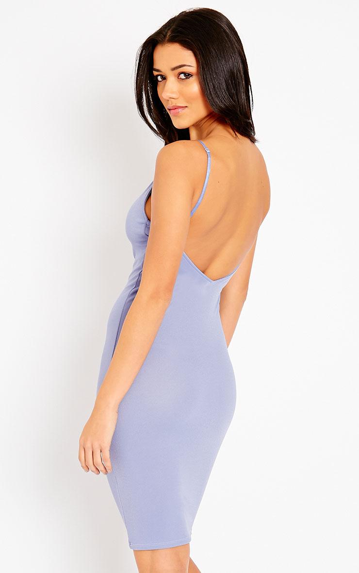 Ada Powder Blue V Back Crepe Midi Dress 1